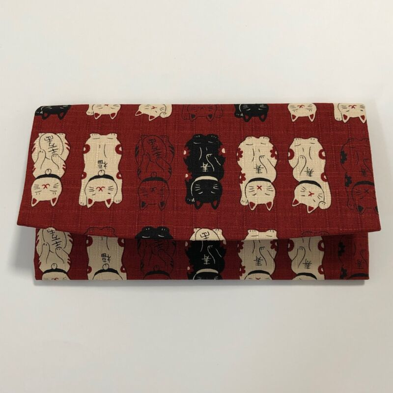 Japanese Wallet Maneki Neko Money Fortune Cat Cute Kawaii Dark Red Kyoto