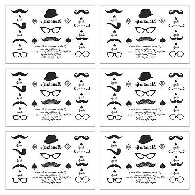 6 sheet Temporary Tattoos Finger Mustache Tattoo Moustache Tattoos - Finger Mustache Tattoo