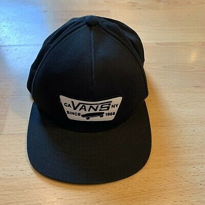 VANS Black Mens Baseball Cap / Hat - Full Patch Snapback - Very Good Condition