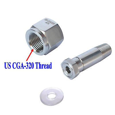 Stainless Steel Cga 320 Co2 Regulator Inlet Nut Nipple With Washer