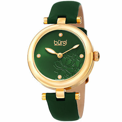 Women's Burgi BUR197GN Diamond Marker Flower Dial Green Leather Strap Watch