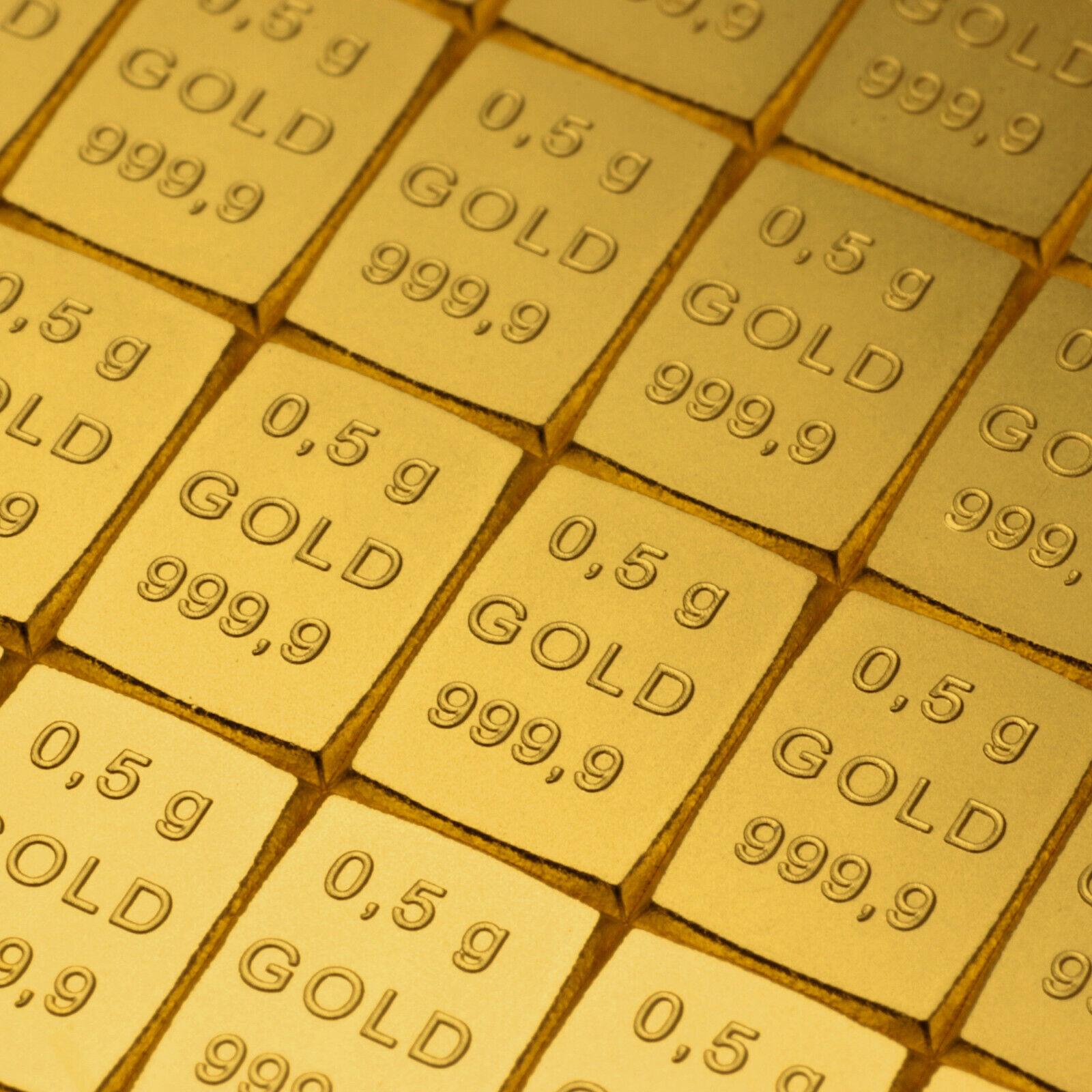 Valcambi Gold Goldbarren 0,5 Gramm CombiBar 999.9 Feingold