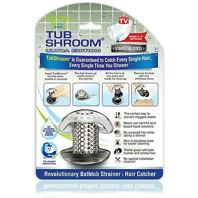 TubShroom Ultra Drain Protector, Hair Catcher, Strainer in Stainless Steel (New)