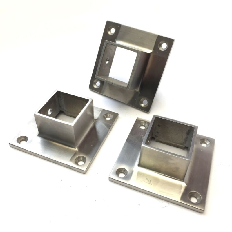 """Lot of 3 Stainless Steel SS Narrow Flange for 1.5"""" Square Tubing Pipe Extrusion"""