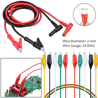 Digital Electronic Multimeter Probe Test Leads With 2mm Alligator Clips Kit Us