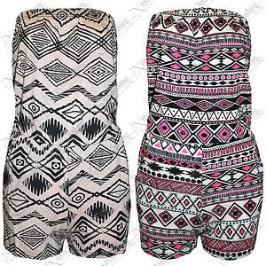 NEW-WOMENS-LADIES-AZTEC-PRINT-PLAYSUIT-HOT-PANTS-SHORTS-BOOBTUBE-TOPS-SHORT-SUIT