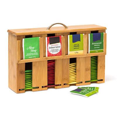 Teebeutelspender Bambus 4 Fächer Teebox Teekiste Teebeutelbox Tee-Box Teekasten