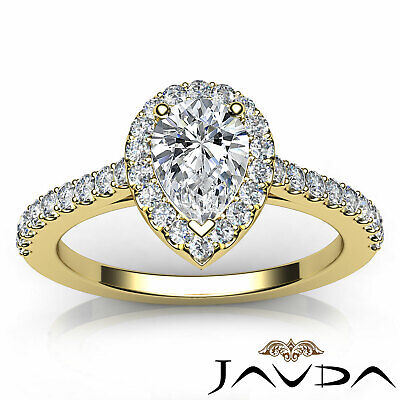 Halo Pear Diamond Engagement French U Pave Set Wedding Ring GIA H Color VVS2 1Ct 10