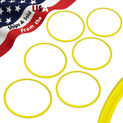 Set of 6 YELLOW Agility Rings Speed Rings Soccer Baseball Basketball Football
