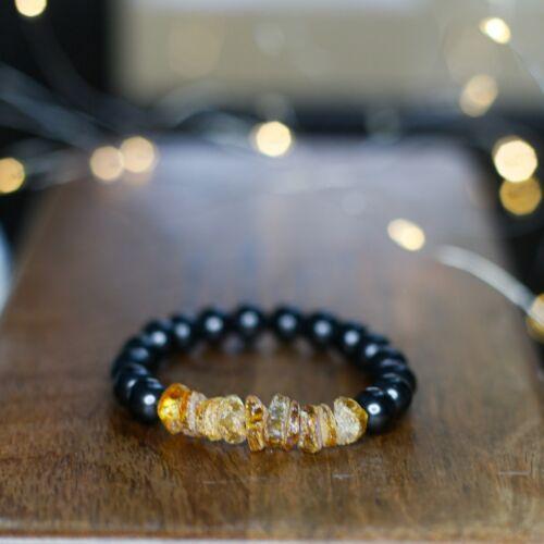 Shungite bracelet with raw baltic amber   EMF protection 5G Protection