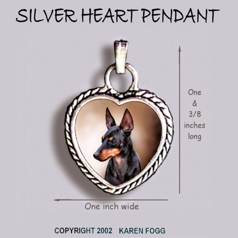 TOY MANCHESTER TERRIER DOG  Ornate HEART PENDANT Tibetan Silver