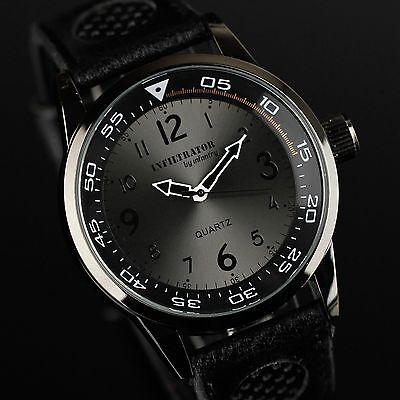 INFANTRY Mens Quartz Wrist Watch Analog Sport Army Black Fashion Leather Aviator