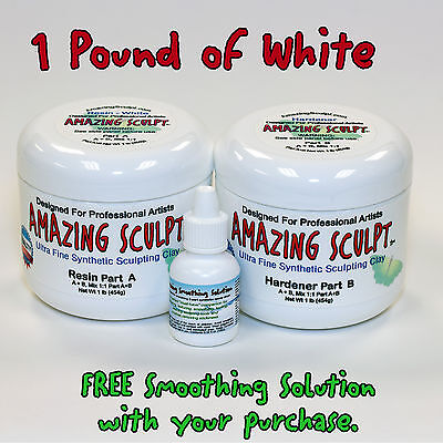 AMAZING SCULPT - WHITE 1 lb Superior Self Hardening Sculpting and Modeling Clay