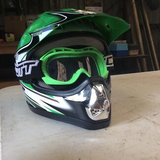 Motorbike Helmet & matching goggles