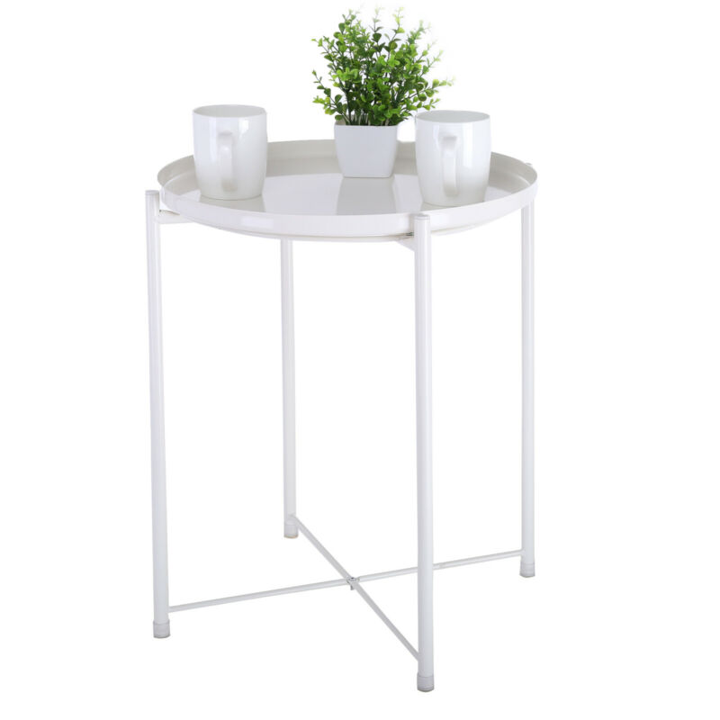 Tray End Table, Sofa Small Round Side Table Outdoor&Indoor S