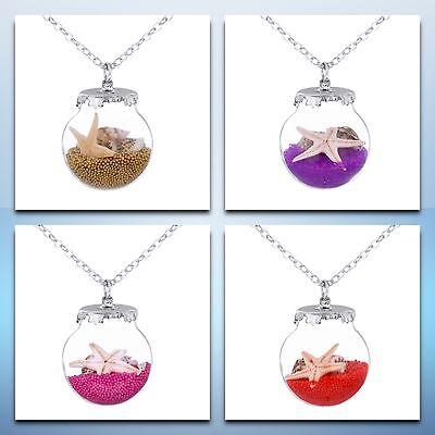 Seestern Pink (Kette Halskette silber mit Anhänger Perlen Muscheln Seestern Stern pink gold rot)