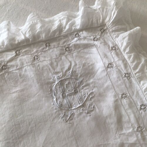 Antique/Vintage French Linen/cotton  Hand embroidered Monogram  CH Pillow Sham