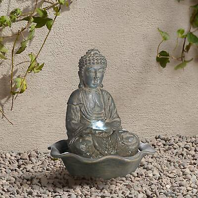 """Zen Buddha Outdoor Water Fountain with Light LED 12"""" Sitting Table Yard Garden"""
