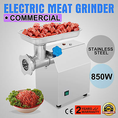 Stainless Commercial Meat Grinder 850w Mincer Heavy Duty W2 Blades Plates