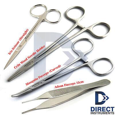 4pcs Suture Removal Kit Needle Holder Thumb Forceps Scissors Surgical Instrument