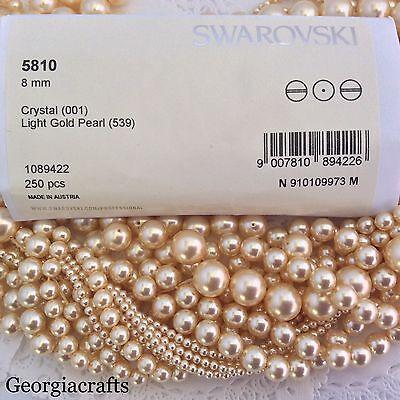 Swarovski® Crystal Pearls #5810 Light Gold - FULL STRANDS - Choose Sz. 3mm -12mm
