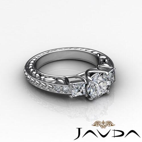 Platinum 1.4ct Round Diamond Trellis 3 Stone Engagement Filigree Ring GIA F VVS2 2