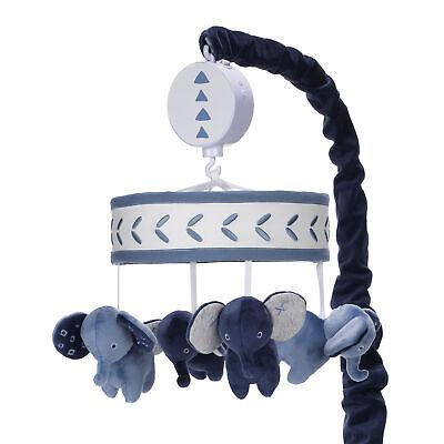 Lambs & Ivy Indigo Elephant Blue/White Safari Musical Baby Crib Mobile