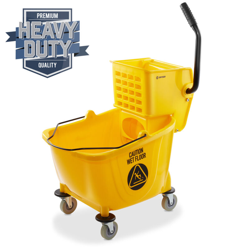 33 Quart Commercial Mop Bucket with Side Press Wringer, Yellow