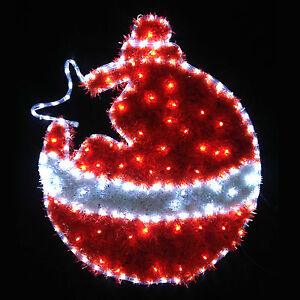 Red & White LED Tinsel Christmas Bauble Flashing Indoor