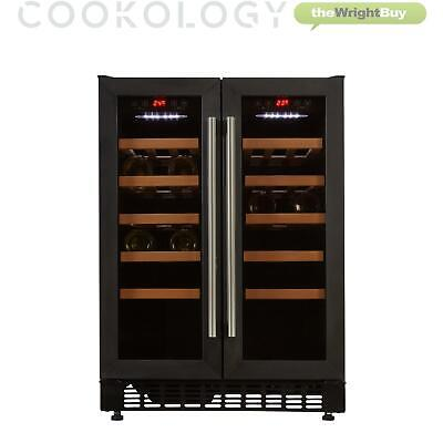 Cookology CWC609BK Black 60cm Dual Zone Wine Cooler 2 Door Undercounter Fridge