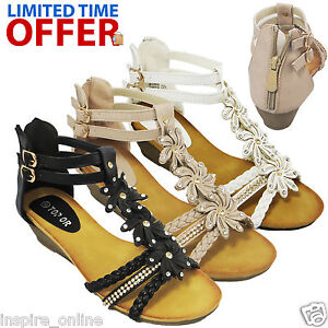 LADIES-WOMENS-STRAPPY-SUMMER-BEACH-EVENING-LOW-MID-HEEL-WEDGE-SANDALS-SHOES-SIZE