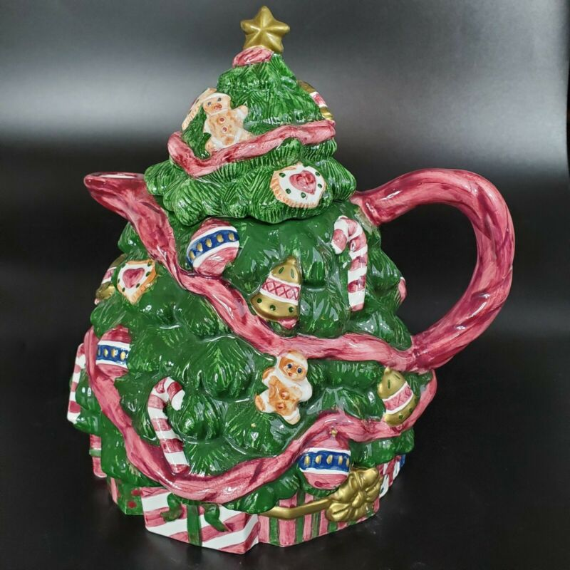 Vtg 1995 Home for the Holidays Christmas Tree Teapot Ceramic Hand Painted