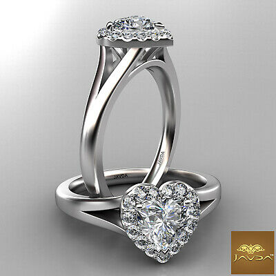 Halo Split Shank French Pave Heart Diamond Engagement Ring GIA F Color VS2 0.7Ct