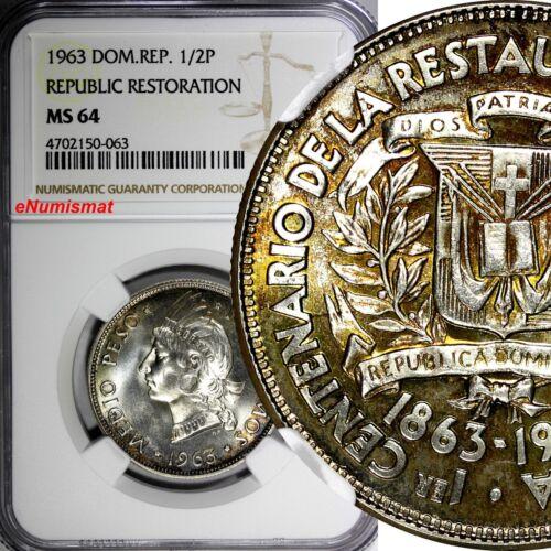 Dominican Restoration Republic Silver 1963 1/2 Peso NGC MS64 Mint-300,000 KM# 29