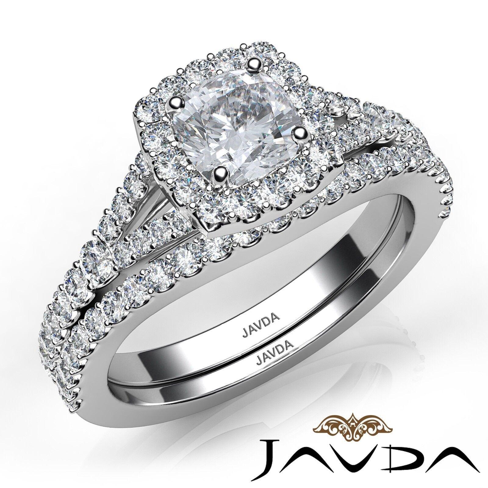 1.5ctw U Cut Pave Halo Bridal Cushion Diamond Engagement Ring GIA F-VS2 W Gold 1