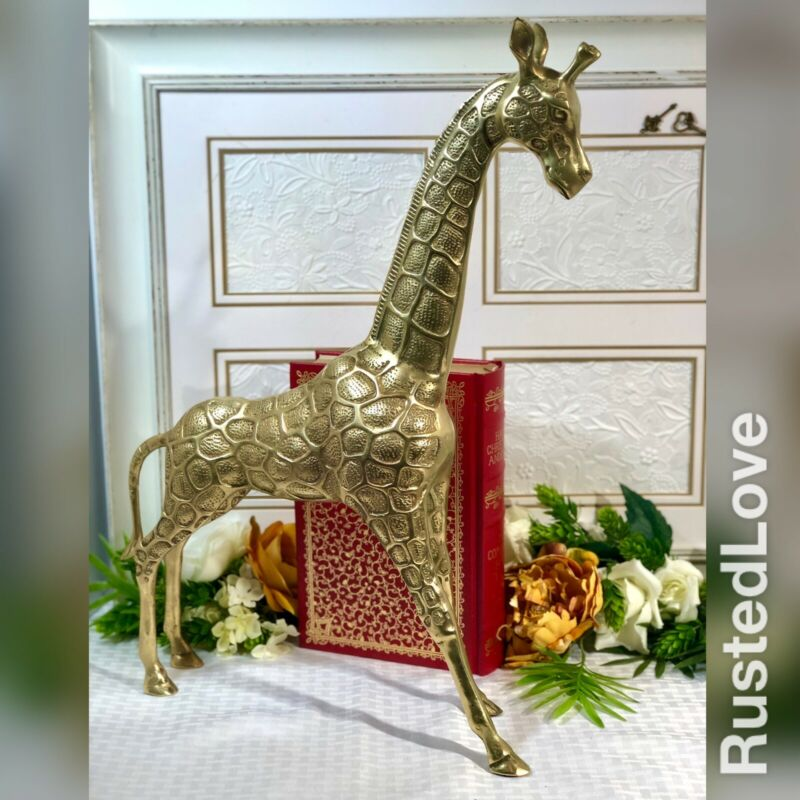 Solid Brass Giraffe / Vintage Animal Decor / Mid Century Modern / African Decor