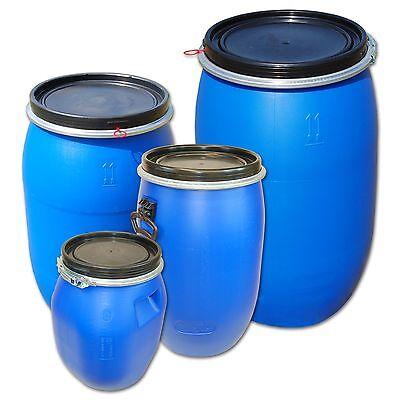 Wasserfass Regentonne Gepäcktonne Kunststofffass alle Größen Deckelfass