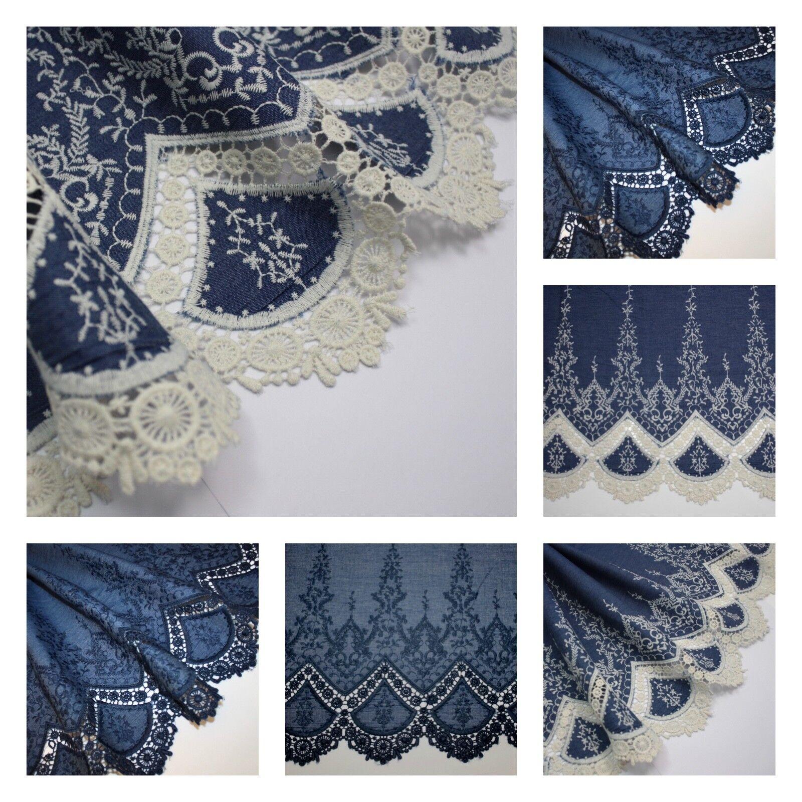 Ex Designer Deadstock Dressmaking Fabric Embroidered Broderie Anglaise Black
