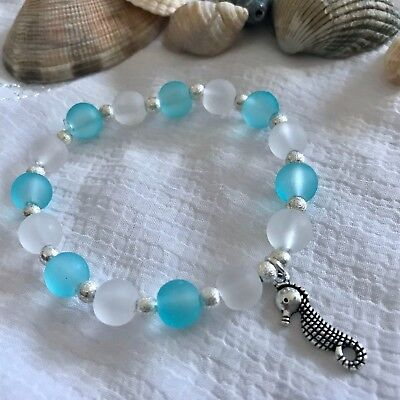 New Sea Horse Charm Bracelet ~ Gift Idea ~ Stretchy ~ Surfer Beach Theme ~ Blue (Sea Theme Ideas)