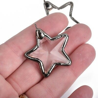 1 Crystal STAR Drop Pendant, Clear Glass, Faceted, Gunmetal Black, 1.5