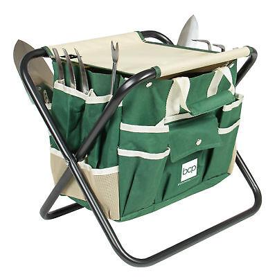 (7 Piece Garden Tool Set Folding Stool W/ Tool Bag & 5 Stainless Steel Tools)
