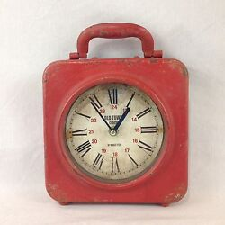 Distressed Vintage Style Old Town Single Sided Metal Red Shelf Mantel Clock