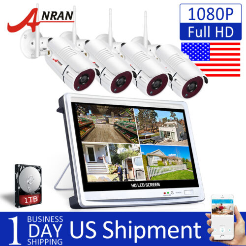 ANRAN 8CH 1080P Wireless Security 4xIP Camera System with 12