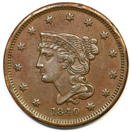 1840 N-1 Small Date Braided Hair Large Cent Coin 1c