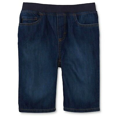 Boys Jean Shorts by Basic Editions-Dark Wash Pull On Elastic Waist (XS,S,M,L,XL) ()