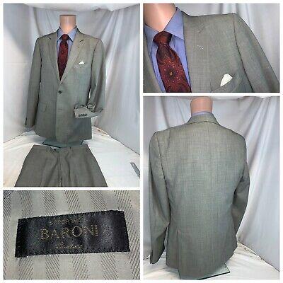 Baroni Super 150s Suit 42L Gray Wool 2B 2V 34x33 Flat Front EUC YGI E0-380