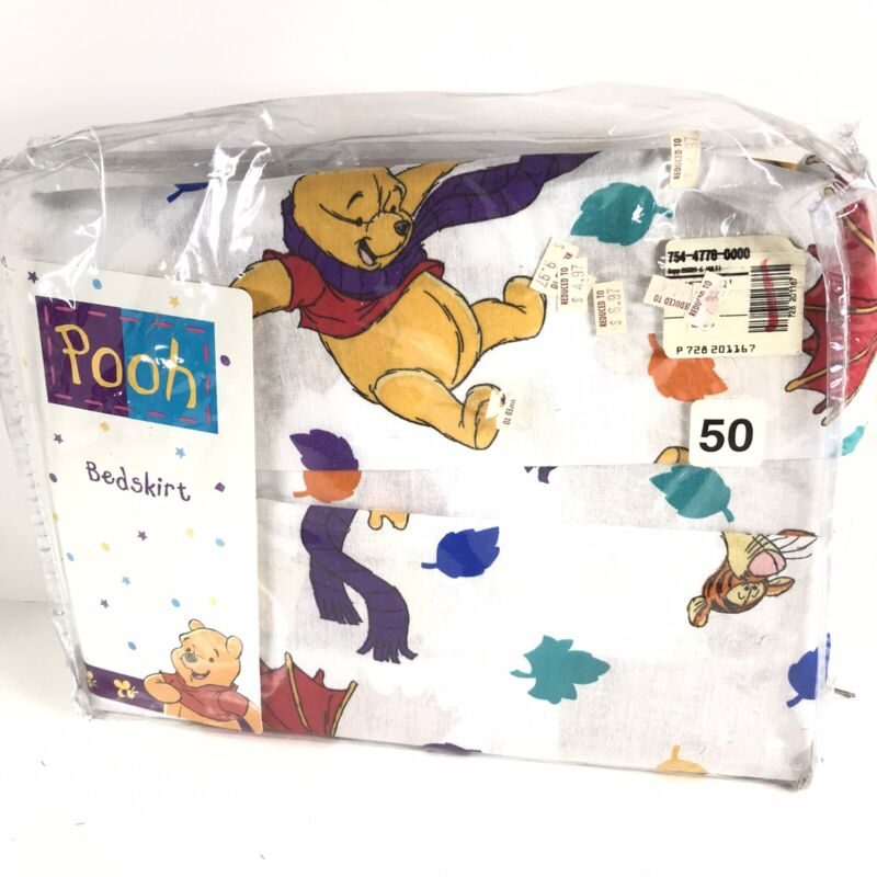 Winnie the Pooh Twin Bedskirt Dust Ruffle Blustery Day 90s Vintage