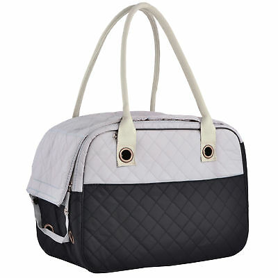 Stylish 2 Tone Quilted Soft Sided Travel Dog and Cat Pet Carrier Tote Hand Bag