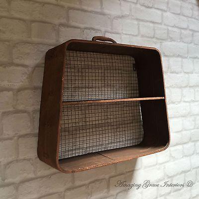 Vintage Industrial Style Metal Wall Shelf Unit Storage Display Cabinet Rack