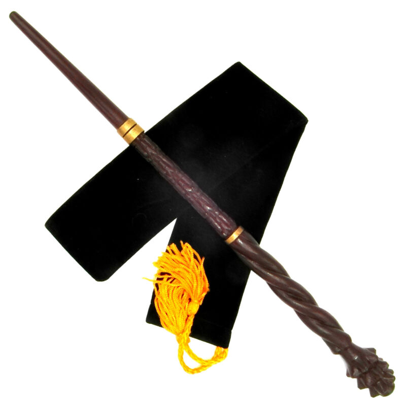 """16"""" Hand Carved Mahogany Wood Mad-Eye Magic Wand Wizard Witch Wicca w/Velvet Bag"""